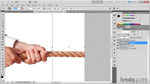 Extending an image with Free Transform: Photoshop CS5 One-on-One: Advanced
