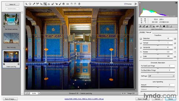 Applying manual lens corrections: Photoshop CS5 One-on-One: Advanced