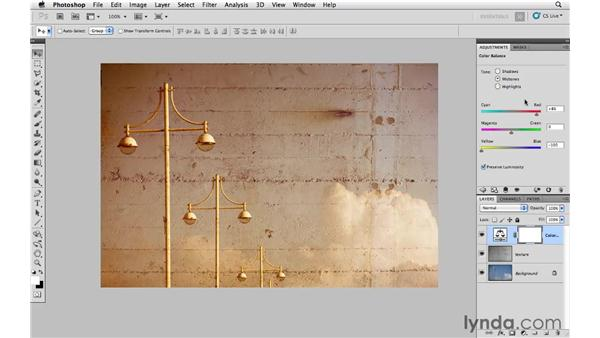 Using blending modes and color adjustment layers: Photoshop CS5: Creative Compositing
