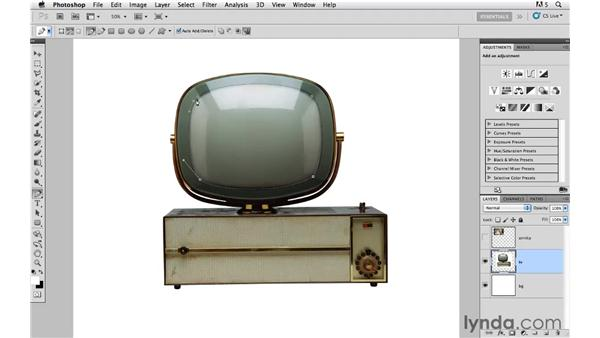 Creating a selection of the TV glass: Photoshop CS5: Creative Compositing