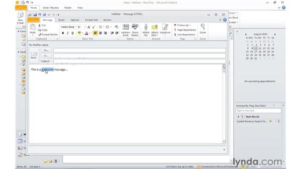 Quickly accessing relevant commands with the Mini toolbar: Migrating from Outlook 2003 to Outlook 2010