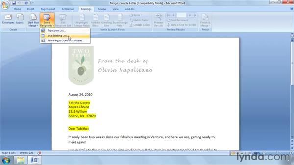 Choosing or creating a data source: Word 2007: Mail Merge in Depth