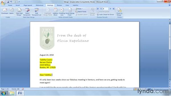 Using Mail Merge with an Excel table: Word 2007: Mail Merge in Depth