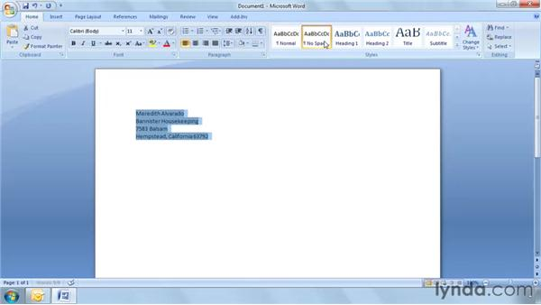 Creating envelopes: Word 2007: Mail Merge in Depth