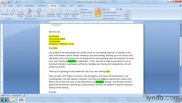 Prompting for input with ASK and FILLIN: Word 2007: Mail Merge in Depth