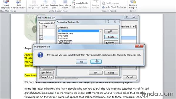 Creating a new data source for Mail Merge: Word 2010: Mail Merge in Depth