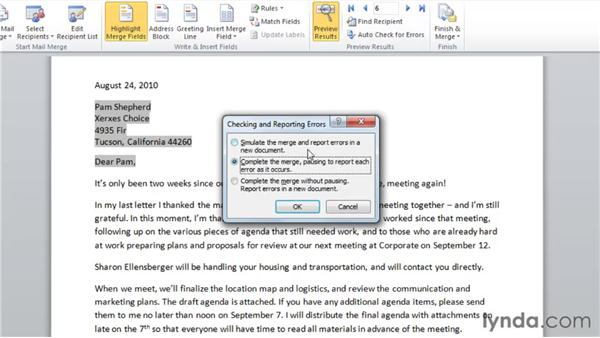 Previewing merge results: Word 2010: Mail Merge in Depth