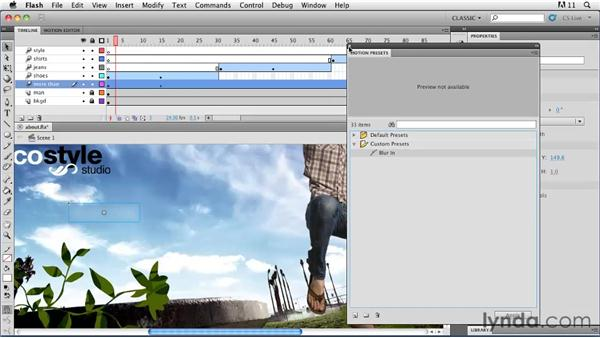 Creating and reusing custom presets: Flash Professional CS5: Animation Projects