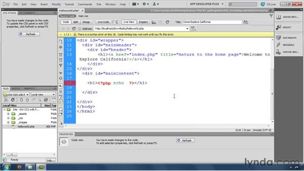 Adding PHP commands with the Insert panel: Dreamweaver with PHP and MySQL