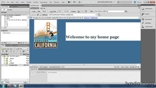 Testing pages with Live view and Live Code view : Dreamweaver with PHP and MySQL