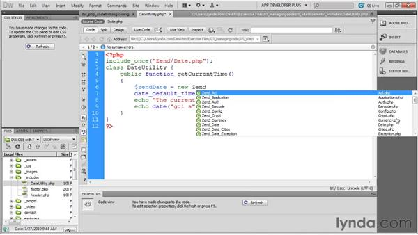 Using Zend Framework classes with code hints: Dreamweaver with PHP and MySQL