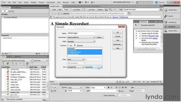 Building a simple recordset : Dreamweaver with PHP and MySQL