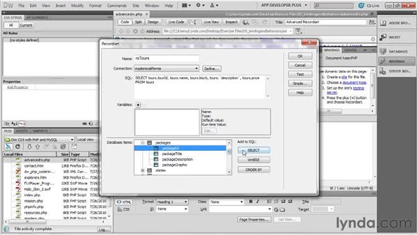 Building an advanced recordset : Dreamweaver with PHP and MySQL