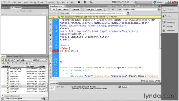 Handling form submissions with PHP: Dreamweaver with PHP and MySQL