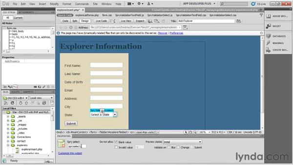 Creating a custom data entry form : Dreamweaver with PHP and MySQL