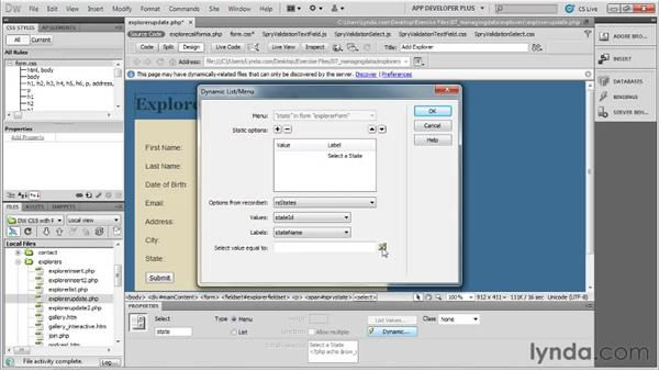 Preparing an update form: Dreamweaver with PHP and MySQL