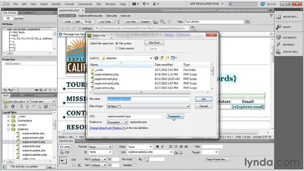 Creating list page links to edit and update data: Dreamweaver with PHP and MySQL