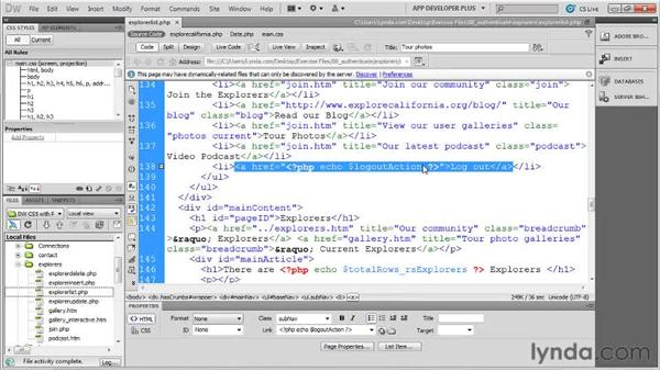 Logging out with a PHP server behavior : Dreamweaver with PHP and MySQL