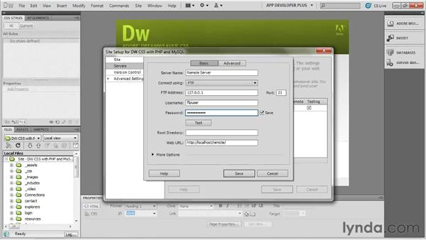 Configuring a remote server with FTP credentials: Dreamweaver with PHP and MySQL