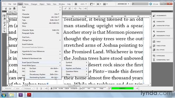 Inserting special characters: Collaborative Workflows with InDesign and InCopy