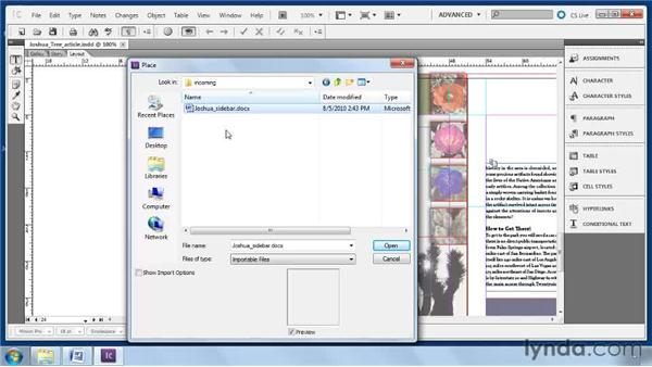 Importing text: Collaborative Workflows with InDesign and InCopy