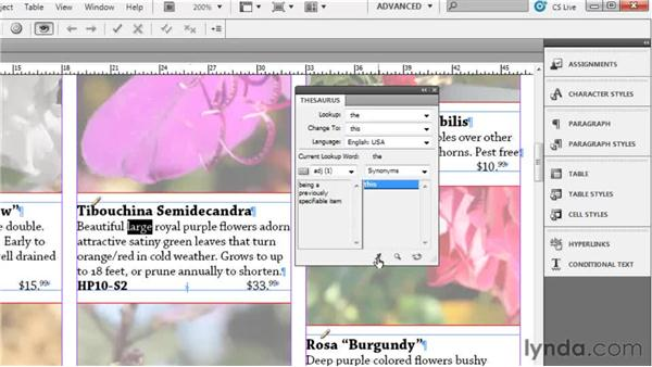 Using the thesaurus: Collaborative Workflows with InDesign and InCopy
