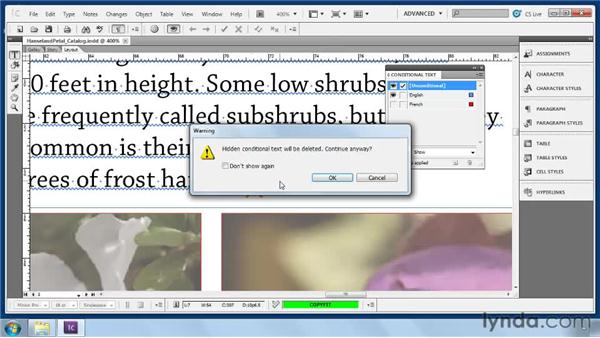 Using conditional text: Collaborative Workflows with InDesign and InCopy