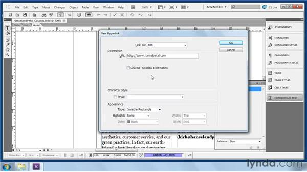 Creating hyperlinks: Collaborative Workflows with InDesign and InCopy