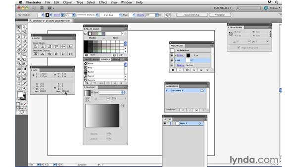 Setting up a workspace optimized for web design: Illustrator CS5 for Web and Interactive Design