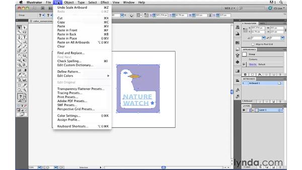 Using Recolor Art to convert art to web-safe colors: Illustrator CS5 for Web and Interactive Design