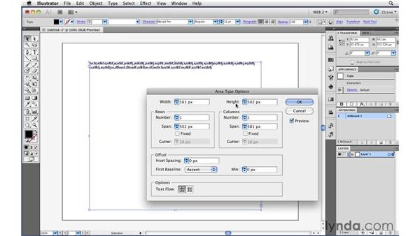 Setting area type in Illustrator: Illustrator CS5 for Web and Interactive Design