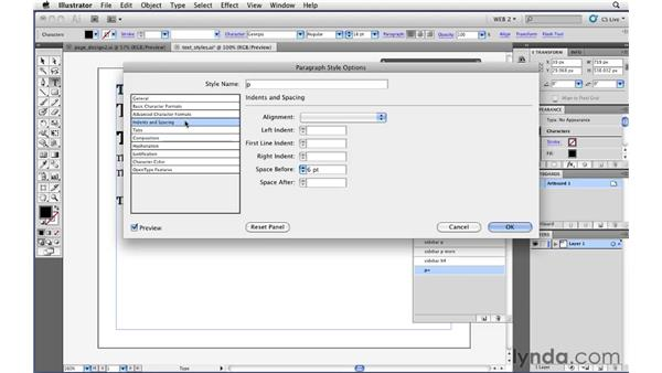 Formatting text quickly with paragraph styles: Illustrator CS5 for Web and Interactive Design