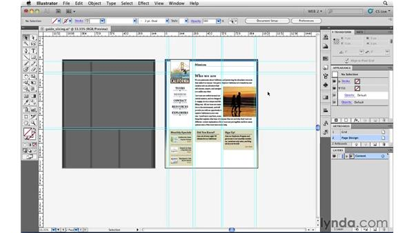 Creating slices from guides: Illustrator CS5 for Web and Interactive Design