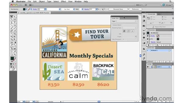 Setting text that will be used in Flash Professional: Illustrator CS5 for Web and Interactive Design