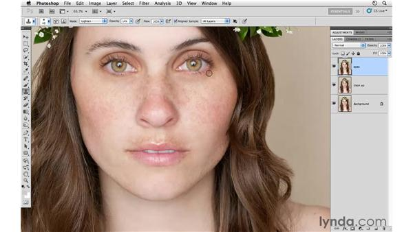 Reducing shadows around the eyes: Photoshop CS5: Fashion Retouching Projects