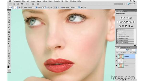 Reducing shadows: Photoshop CS5: Fashion Retouching Projects