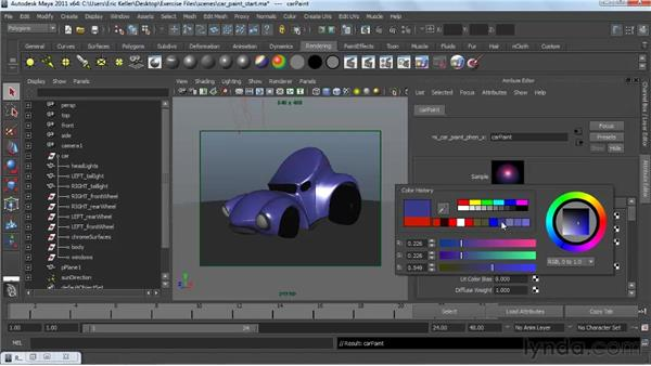 Looking at car paint materials: Creating Textures and Shaders in Maya