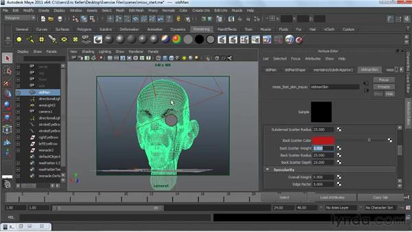 Using subsurface scattering shaders: Creating Textures and Shaders in Maya