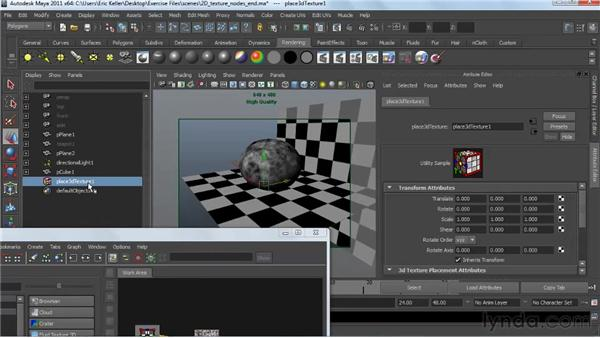 Applying 3D procedural texture nodes: Creating Textures and Shaders in Maya