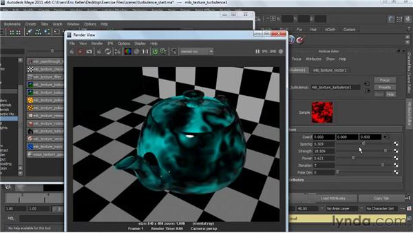 Applying the turbulence texture: Creating Textures and Shaders in Maya