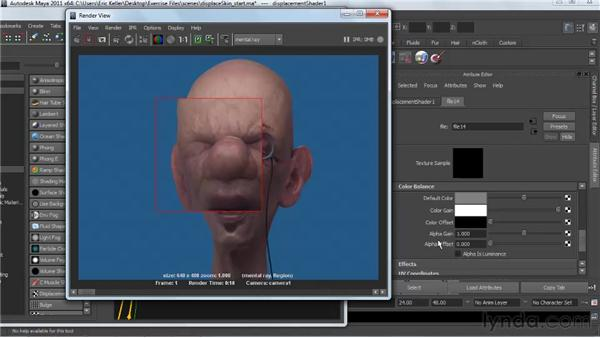 Troubleshooting displacement maps: Creating Textures and Shaders in Maya