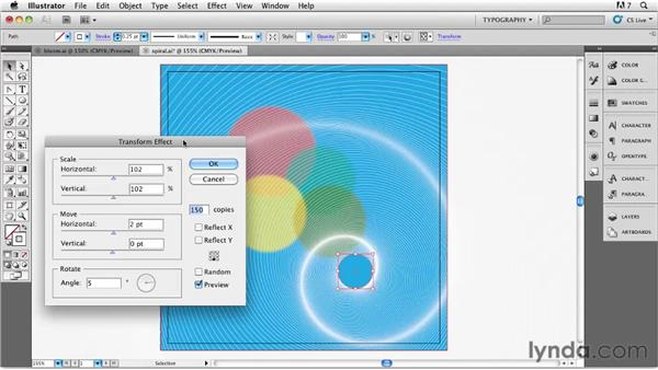 Creating the spirals with Transform: Designing a CD Cover