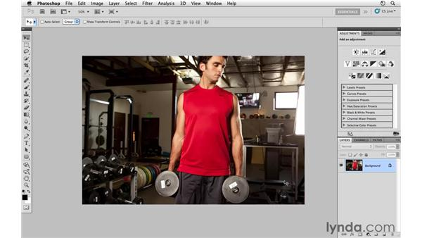 Improving the composition by cropping: Photoshop CS5: Athletic Retouching Projects
