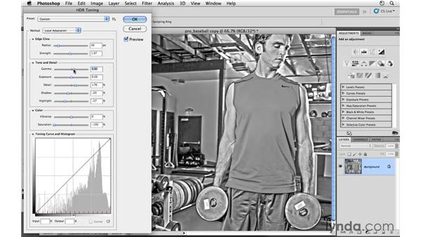 Toning the image with HDR toning: Photoshop CS5: Athletic Retouching Projects