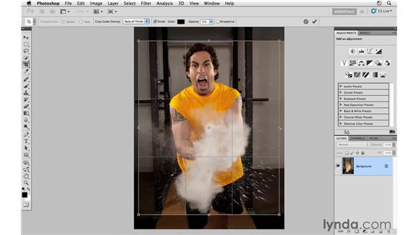 Applying a freeform crop: Photoshop CS5: Athletic Retouching Projects