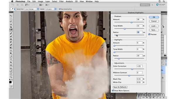 Modifying the shadows and highlights: Photoshop CS5: Athletic Retouching Projects