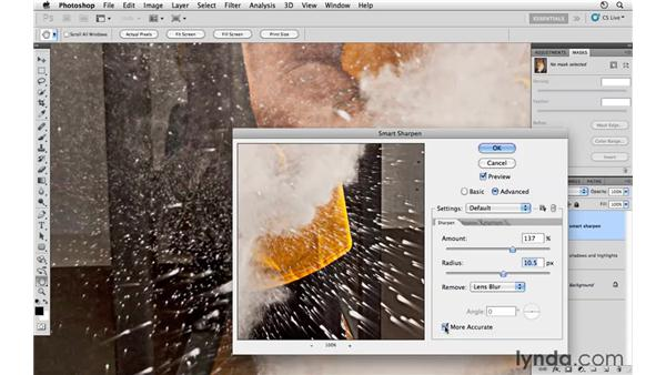 Working with Smart Sharpen: Photoshop CS5: Athletic Retouching Projects