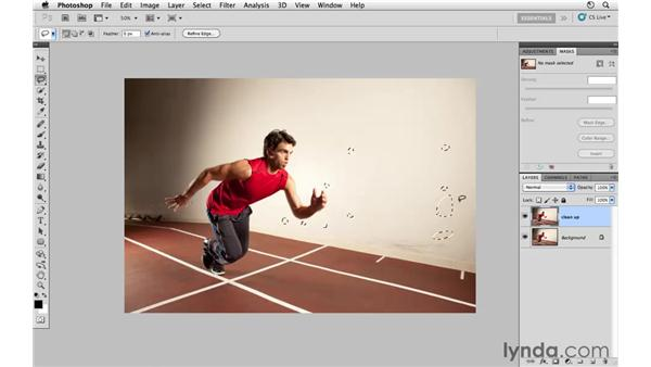 Removing unwanted background elements: Photoshop CS5: Athletic Retouching Projects