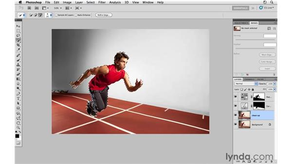 Improving the color of the track: Photoshop CS5: Athletic Retouching Projects