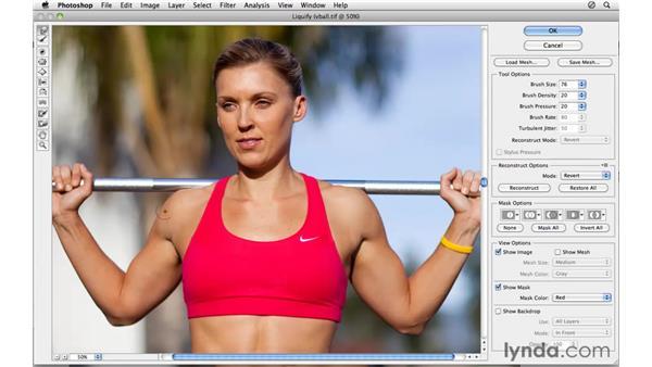 Using Liquify to change the shape: Photoshop CS5: Athletic Retouching Projects